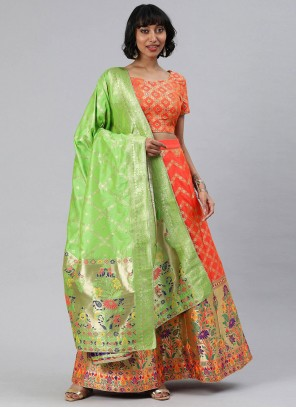 Banarasi Silk Woven A Line Lehenga Choli in Orange