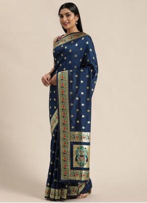 Banarasi Silk Woven Blue Traditional Designer Saree