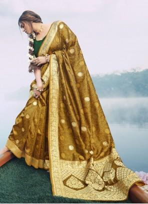 Banarasi Silk Woven Classic Designer Saree in Green