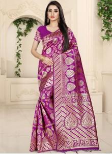 Magenta Banarasi Silk Woven Classic Saree