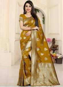 Rust Banarasi Silk Woven Classic Saree