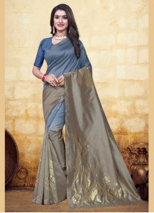 Banarasi Silk Woven Designer Half N Half Saree in Grey and Silver