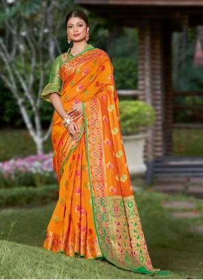 Orange Banarasi Silk Woven Designer Traditional Saree