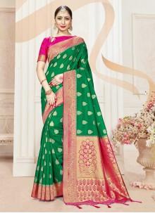 Banarasi Silk Woven Green Classic Designer Saree