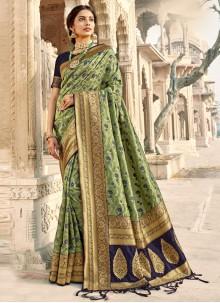 Banarasi Silk Woven Green Classic Saree