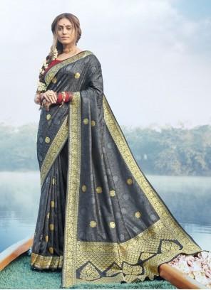 Banarasi Silk Woven Grey Classic Designer Saree