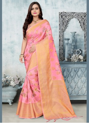Banarasi Silk Woven Pink Contemporary Saree