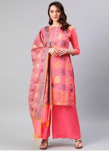 Banarasi Silk Woven Pink Designer Palazzo Suit
