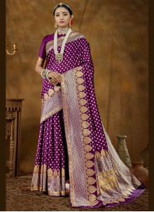Banarasi Silk Woven Purple Designer Traditional Saree