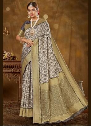 Banarasi Silk Woven Traditional Designer Saree in Grey