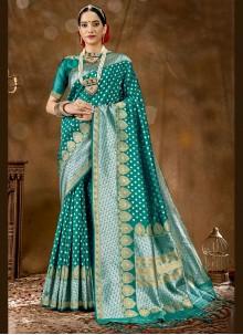 Sea Green Banarasi Silk Woven Traditional Saree