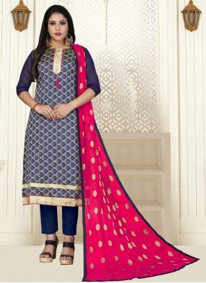 Blue Banarasi Silk Woven Trendy Salwar Suit