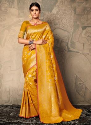 Banarasi Silk Yellow Classic Saree