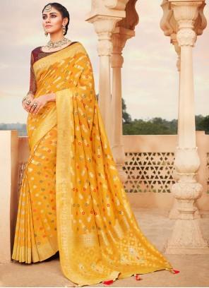 Banarasi Silk Yellow Weaving Traditional Saree