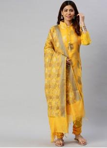Banarasi Silk Yellow Woven Designer Suit