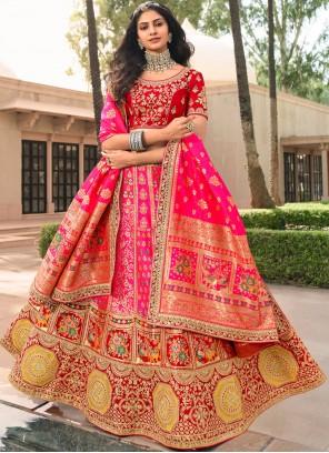 Banarasi Silk Pink Zari A Line Lehenga Choli