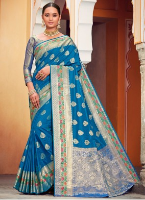 Banarasi Silk Zari Blue Classic Saree