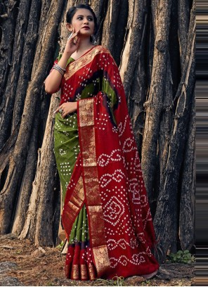 Green And Red Bandhani Saree For Festival
