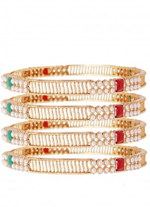 Bangles Stone Work in Gold