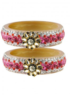 Bangles Stone Work in Gold and Pink