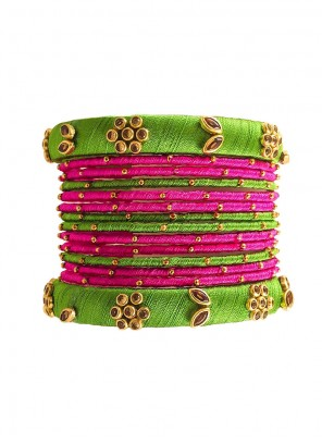 Bangles Stone Work in Green and Pink