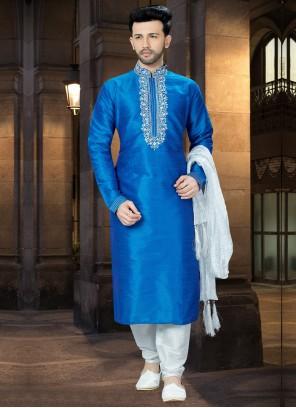 Banglori Silk Blue Kurta Pyjama