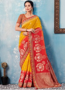 Banglori Silk Border Red and Yellow Designer Saree