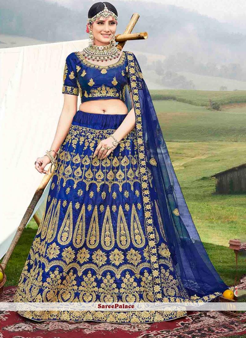 Banglori Silk Diamond Blue Designer Lehenga Choli
