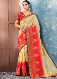 Banglori Silk Embroidered Classic Saree in Red