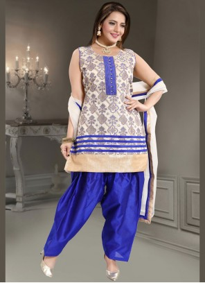 Banglori Silk Fancy Blue and White Readymade Suit
