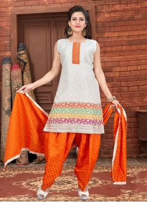 Banglori Silk Fancy Off White Designer Patiala Suit