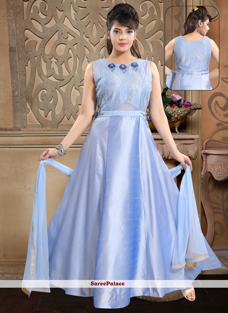 Banglori Silk Handwork Blue Salwar Kameez