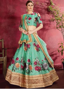 Banglori Silk Lehenga Choli in Green