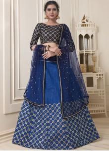Blue Banglori Silk Mehndi Lehenga Choli