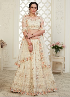 Banglori Silk Off White Bollywood Lehenga Choli