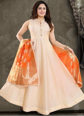 Banglori Silk Peach Readymade Suit