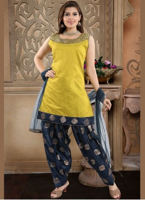 Banglori Silk Readymade Suit in Yellow