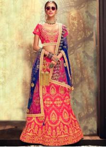 Banglori Silk Rose Pink Lace Lehenga Choli