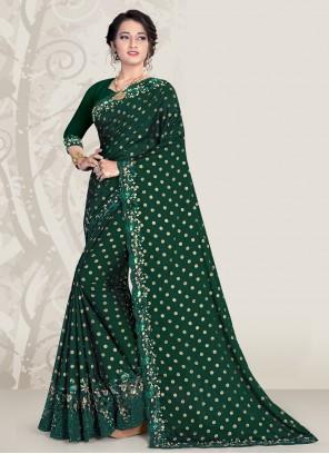 Banglori Silk Sequins Designer Green Traditional Saree