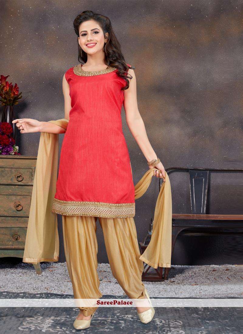 Banglori Silk Stone Work Designer Patiala Suit in Red