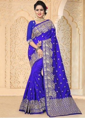 Baronial Blue Embroidered Work Art Silk Traditional  Saree