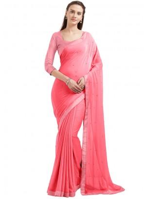 Baronial Pink Lace Work Faux Chiffon Casual Saree