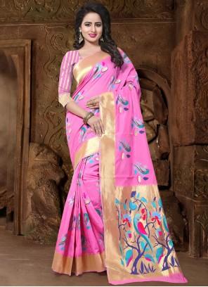 Baronial Pink Weaving Work Designer Traditional Saree