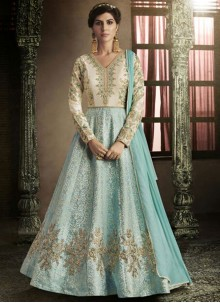 Beauteous Art Silk Embroidered Work Floor Length Anarkali Suit