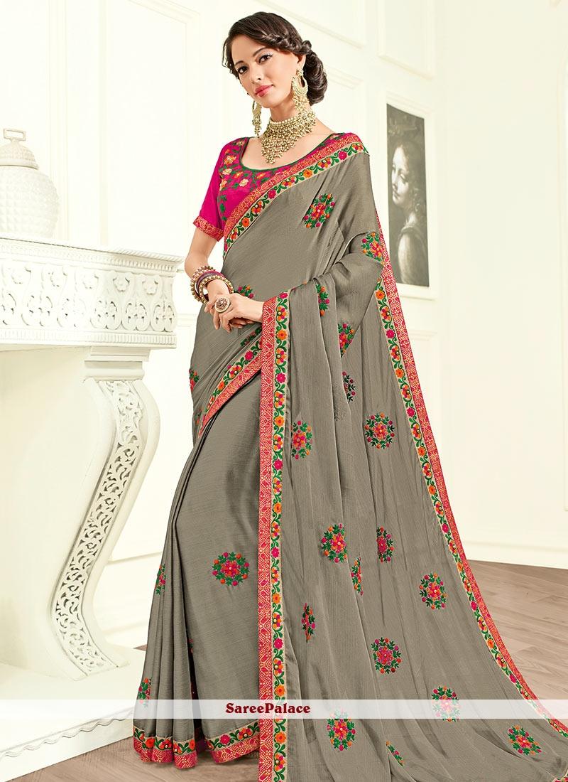 Beauteous Resham Work Traditional  Saree