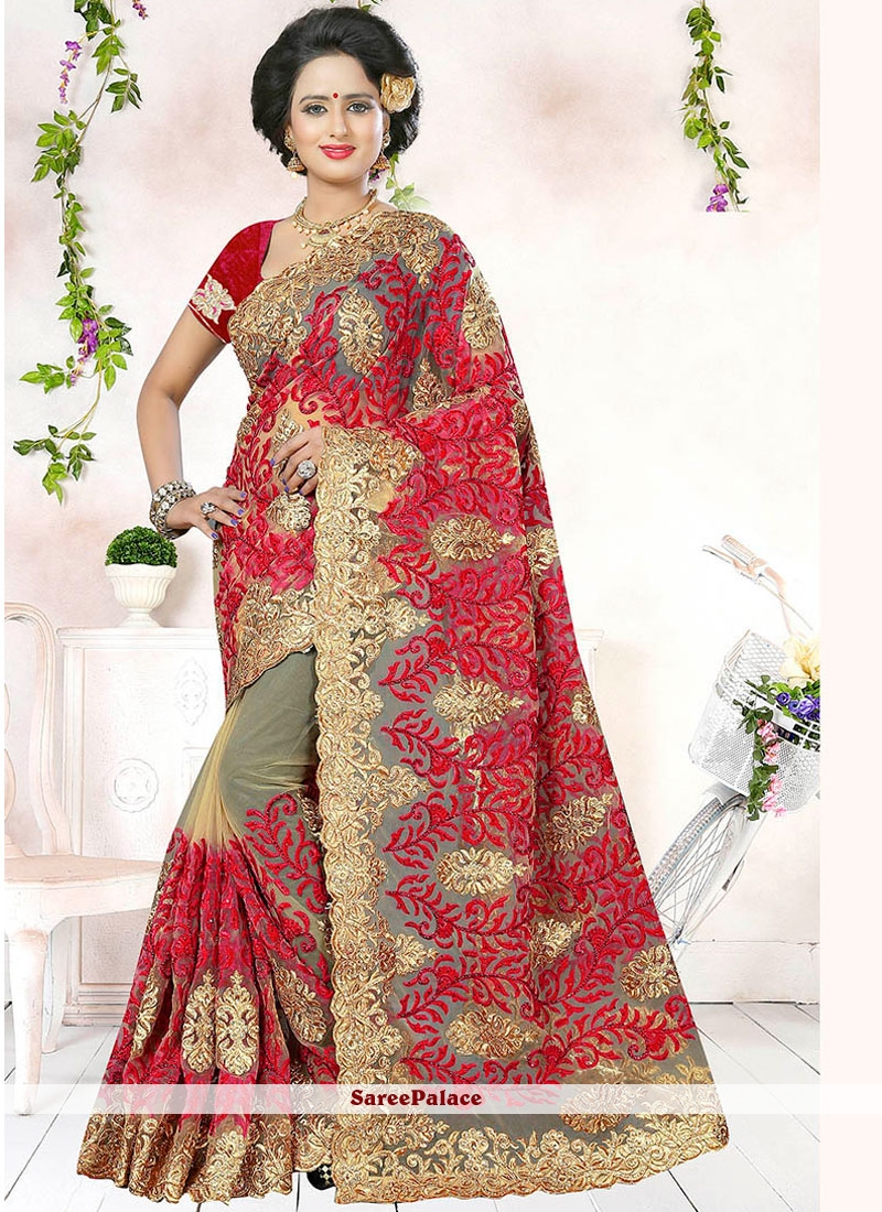 Beige And Red Embroidered Work Net Saree