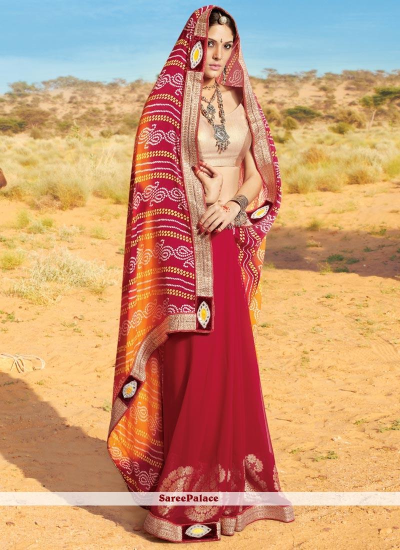 Beautiful Georgette Lace Work Printed Saree