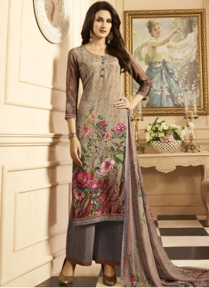Beautiful Multi Colour Print Work Faux Crepe Designer Palazzo Suit