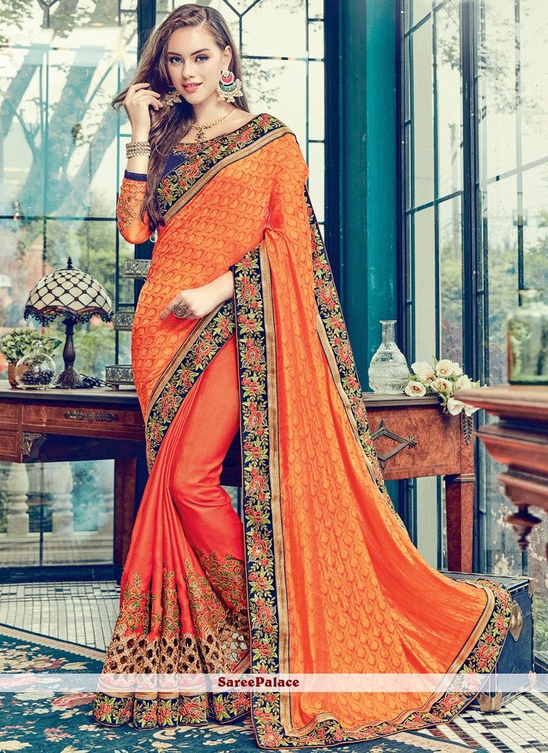 1e32c941ab7 Buy Beautiful Orange Patch Border Work Satin Classic Designer Saree Online