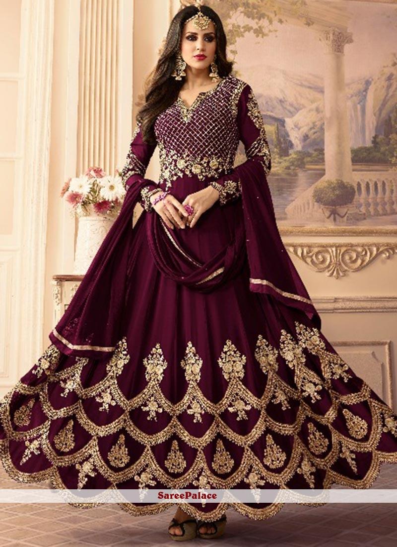 Beautiful Purple Floor Length Anarkali Suit